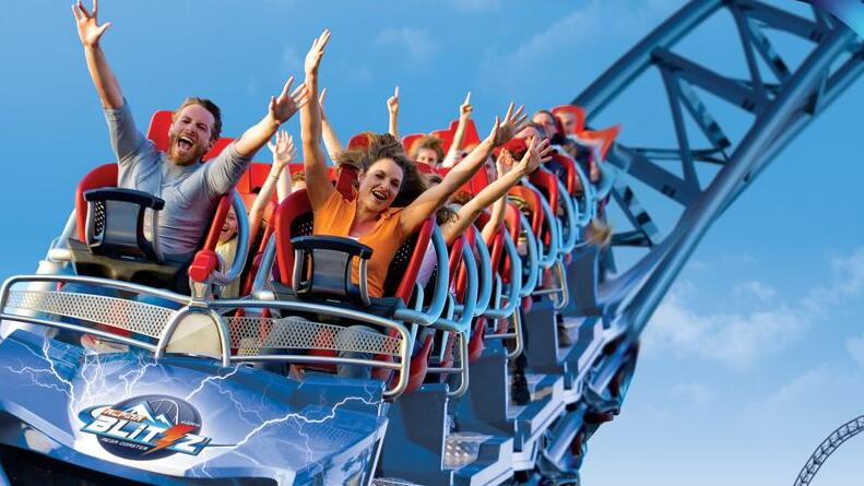 Components of small roller coaster rides in the amusement park