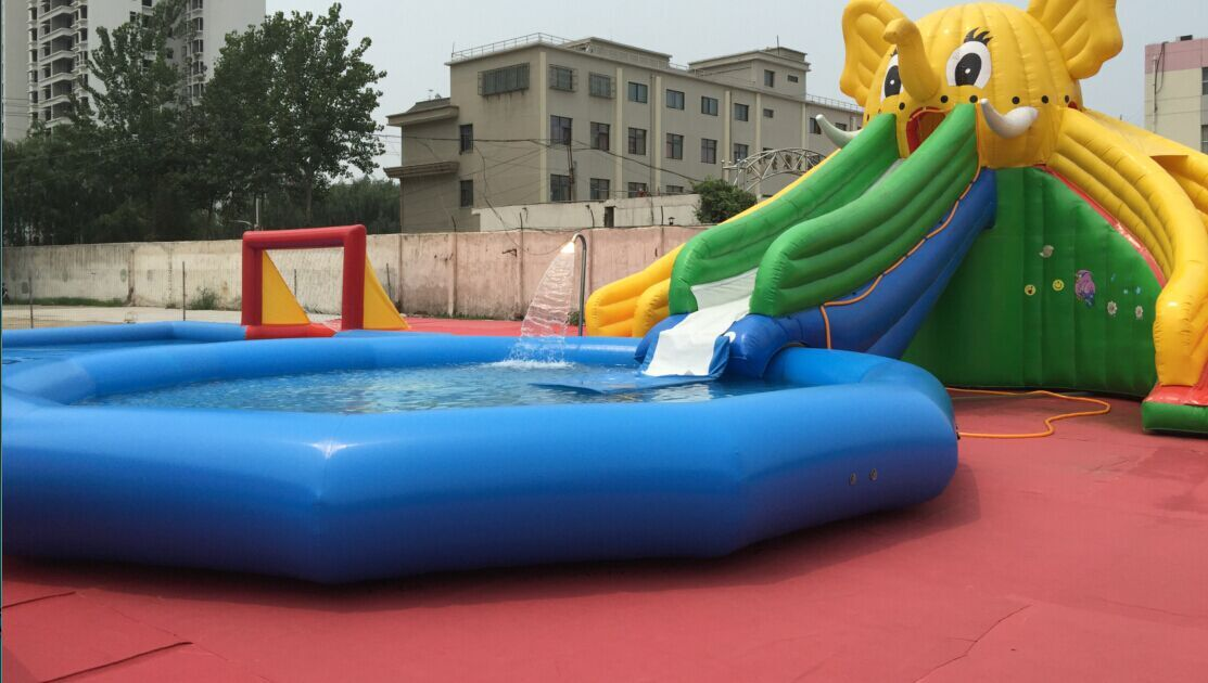 happy kids means there was a bouncy house water slide at the party - House Pools With Slides