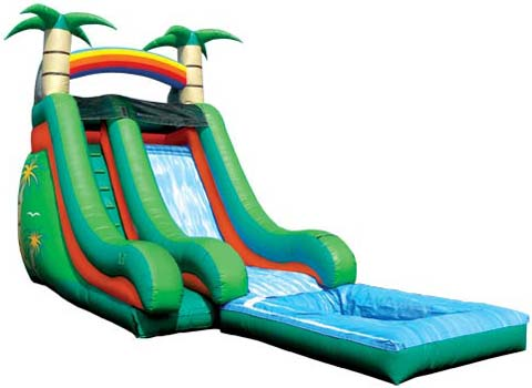 BIS-032 Tropical Splashdown Inflated Water Slides Backyard for Sale